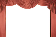 Cortina roja de la etapa con un tull Foto de archivo
