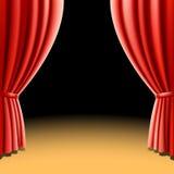 Cortina roja del teatro en fondo negro. Vector. Imagen de archivo libre de regalías