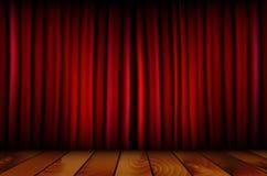 Cortina roja del teatro y piso de madera Fotos de archivo libres de regalías