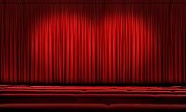 Cortina roja grande con los proyectores Fotografía de archivo libre de regalías