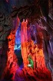 Cortina roja guilin de la cueva de lámina de la flauta Foto de archivo