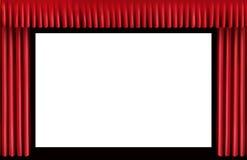 Cortina roja. Pantalla en blanco del cine Foto de archivo