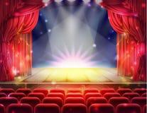 Cortina roja y escena de teatro vacía stock de ilustración