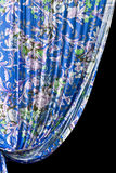 Cortina velha na borda de uma janela Fotos de Stock