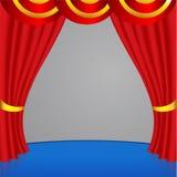 Cortina vermelha com com as listras douradas Foto de Stock Royalty Free