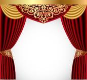 Cortina vermelha com um lambrequin do ouro e um pictu ilustração royalty free