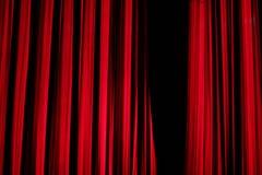 Cortina vermelha da fase na mostra do ano novo Foto de Stock Royalty Free