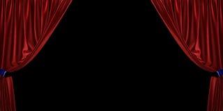 Cortina vermelha de veludo aberta aos lados, em um fundo preto ilustração 3D fotografia de stock