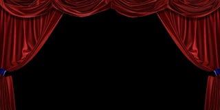 Cortina vermelha de veludo no fundo preto ilustração 3D foto de stock royalty free
