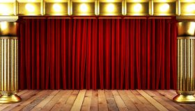Cortina vermelha do fabrick com ouro Imagens de Stock