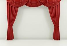 A cortina vermelha ou drapeja o fundo 3d rendem ilustração royalty free