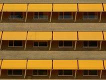 Cortinas amarillas del sol Fotografía de archivo