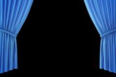 Cortinas azuis da fase de veludo, escarlate da cortina do teatro Cortinas clássicas de seda, cortina azul do teatro rendição 3d ilustração stock