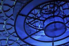 Cortinas azules en las luces Fotos de archivo
