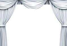 Cortinas blancas de la etapa aisladas sobre el fondo blanco Imagen de archivo