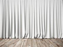 Cortinas blancas y piso de madera Fotos de archivo