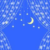 Cortinas das festões com os flocos de neve no fundo das estrelas ilustração do vetor