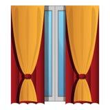 Cortinas de janela amarelas ícone, estilo dos desenhos animados ilustração royalty free
