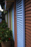 Cortinas de janela de madeira imagem de stock royalty free
