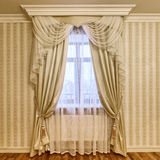 Cortinas de la decoración de la ventana Imagen de archivo