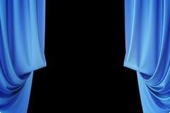 Cortinas de seda azules para la luz del spotlit del teatro y del cine en el centro representación 3d Foto de archivo libre de regalías
