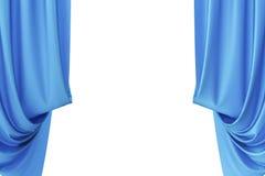 Cortinas de seda azules para la luz del spotlit del teatro y del cine en el centro representación 3d Imágenes de archivo libres de regalías