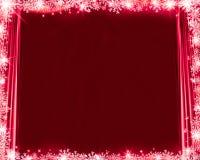 Cortinas de seda, flocos de neve e brilho do fundo vermelho abstrato do Natal ilustração do vetor