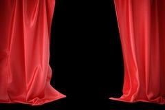 Cortinas de seda rojas para la luz del spotlit del teatro y del cine en el centro representación 3d Imagenes de archivo
