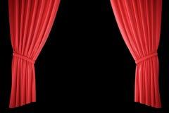 Cortinas de seda rojas para la luz del spotlit del teatro y del cine en el centro representación 3d Fotografía de archivo