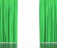 Cortinas de seda verdes para a luz do spotlit do teatro e do cinema no centro ilustração 3D Fotografia de Stock Royalty Free
