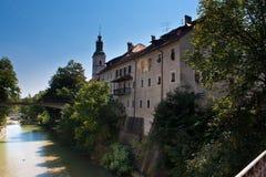 Cortinas de ventana de Eslovenia del loka de Skofja Fotografía de archivo libre de regalías