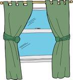 Cortinas de ventana verdes stock de ilustración