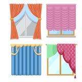 Cortinas de ventana y persiana de las persianas del sitio para la casa o el ejemplo interior casero creativo del vector ilustración del vector