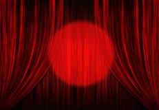 Cortinas del teatro con el proyector ilustración del vector