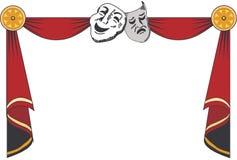 Cortinas del teatro con las máscaras imagen de archivo libre de regalías