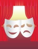 Cortinas e máscaras do teatro Fotografia de Stock
