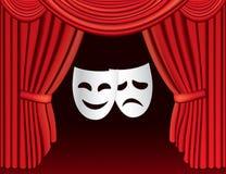 Cortinas rojas del teatro con las máscaras Imagen de archivo libre de regalías