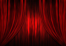 Cortinas rojas del teatro/del teatro Imágenes de archivo libres de regalías