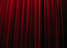 Cortinas rojas del teatro del terciopelo Fotografía de archivo