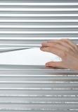 Cortinas venetian de abertura da mão para espreitar Foto de Stock Royalty Free