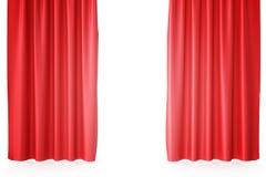 Cortinas vermelhas da fase de veludo, escarlate da cortina do teatro Cortinas clássicas de seda, cortina vermelha do teatro rendi Foto de Stock Royalty Free