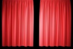 Cortinas vermelhas da fase de veludo, escarlate da cortina do teatro Cortinas clássicas de seda, cortina vermelha do teatro rendi Imagem de Stock Royalty Free