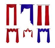Cortinas vermelhas e azuis luxuosas Decoração da janela ilustração royalty free