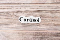 Cortisol of the word on paper. concept. Words of cortisol on a wooden background Royalty Free Stock Images