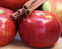 Cortland Apples and Cinnamon Sticks Royalty Free Stock Photography