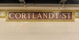 Cortlandt Uliczna stacja metru, Nowy Jork Zdjęcia Royalty Free