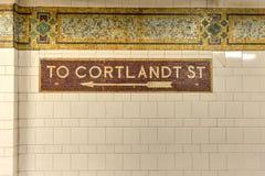 Cortlandt Uliczna stacja metru, Nowy Jork Zdjęcie Stock