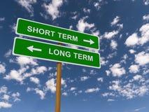 A corto plazo contra largo plazo Imagen de archivo libre de regalías