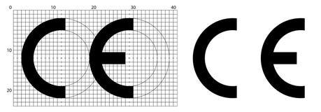 Cortocircuito de la marca de CE para el símbolo de Conformite Europeenne Dimensiones correctas según la hoja oficial de la constr ilustración del vector