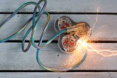 Cortocircuito del cable de extensión imagen de archivo